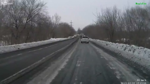 360 degree turn on an icy road