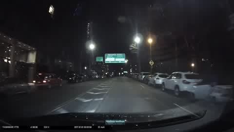 car had the wall of the bridge